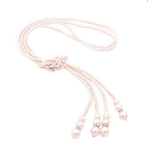 - JSEA P 2pcs/Set Womens Pink Imitation Pearl Long Chain Strand Necklace Bolo Tie Necklace