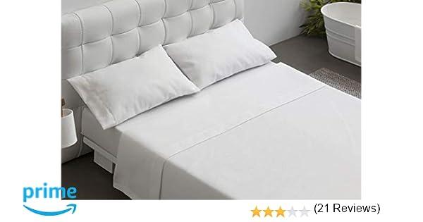 BURRITO BLANCO Juego de Sábanas Blancas Hotel Lisas de Algodón 100% para Cama de Matrimonio de 150x190 cm hasta 150x200 cm (Disponible en más Medidas): ...