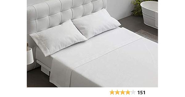 Burrito Blanco Juego de Sábanas Blancas Hotel Lisas de Algodón 100% para Cama de Matrimonio de 150x190 cm hasta 150x197 cm (Disponible en más Medidas): Amazon.es: Hogar