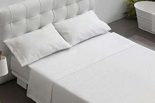 Burrito Blanco Juego de Sabanas Blanco de Hosteleria para Cama de Matrimonio de 135 cm x 190/200 cm (Disponible en mas Medi