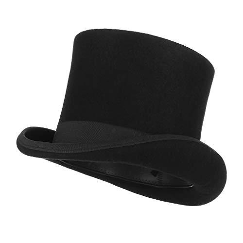 MYZOPER Magician Felt Hat President Party Wool Satin Lined Men's Top Hat S M L (59CM)