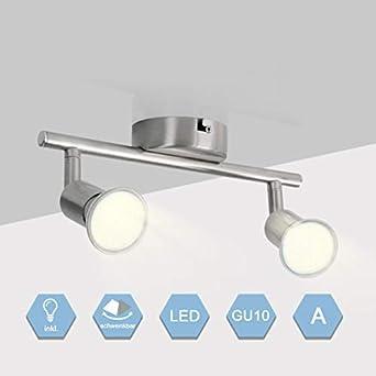 GU10 2-Flammig LED Deckenstrahler Schlafzimmer Deckenspot Schwenkbar Warmweiss