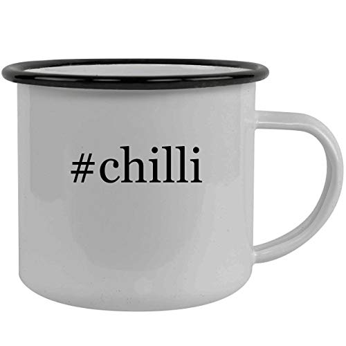 #chilli - Stainless Steel Hashtag 12oz Camping Mug, Black
