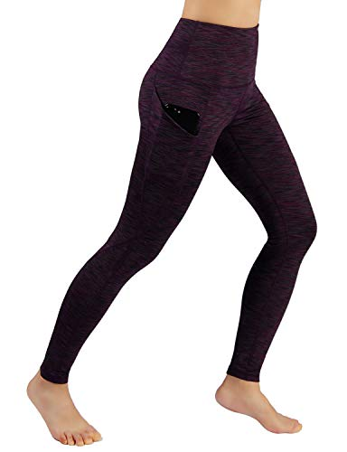 ODODOS Women's High Waist Yoga Pants with Pockets,Tummy Control,Workout Pants Running 4 Way Stretch Yoga Leggings with Pockets,SpaceDyeWine,Large