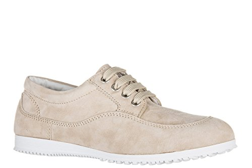 Hogan scarpe sneakers donna camoscio nuove h258 traditional beige