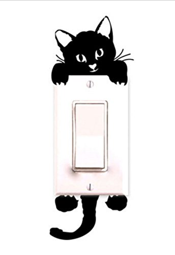 Decalgeek Cat Wall Stickers Light Switch Decor Decals Art Mural Baby Nursery Room ()