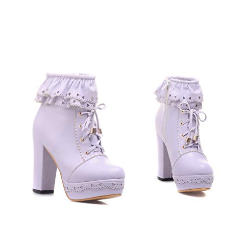 Women's Cute Platform Chunky High Heel Ankle Boots Lace Up Zipper Round Toe Stilettos Booties