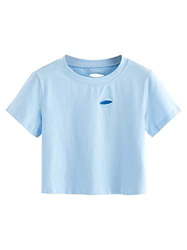 SweatyRocks Women's Summer Short Sleeve Tee Distressed Ripped Crop T-Shirt Tops (Large, Blue)