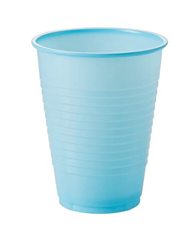 Exquisite 12 oz Light Blue Plastic Cups II 50 Count Bulk Pack Disposable Party Cups II Premium Quality Plastic Tumblers for Parties