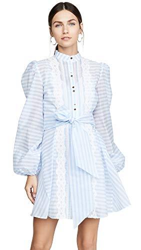 (Keepsake The Label Women's Guardian Long Sleeve LACE Trim A-LINE Mini Dress, Sky Blue Stripe, S)