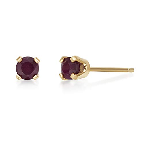 - Lavari - .30 CT Round 3MM Red Ruby 14K Yellow Gold Women's Stud Birthstone Earrings