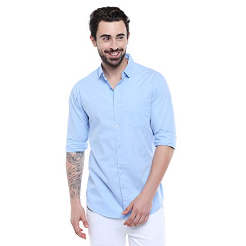 Dennis Lingo Men's Solid SkyBlue Slim Fit Casual Shirt