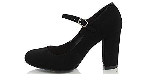 City Classified Comfort Womens Nola Faux Nubuck Leather Mary Jane Chunky High Heel MVE Shoes, mve Shoes nola Black 7