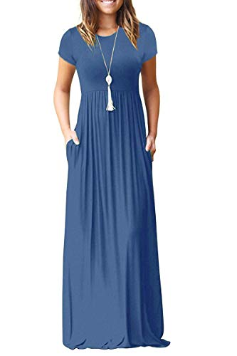 (AUSELILY Women Short Sleeve Loose Plain Casual Long Maxi Dresses with Pockets (S, Beja Blue))