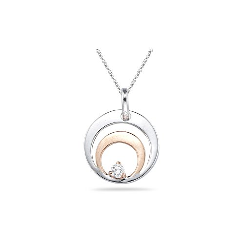 0.05-0.10 Cts SI2 - I1 clarity and I-J color Diamond Solitaire Circle Pendant in 18K Two Tone ()