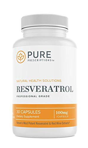 Pure Prescriptions Resveratrol Supplement - Pure Trans Resveratrol with Red Wine Polyphenols Antioxidant Support for Immune, Heart Health and Anti Aging Benefits - 30 Vegan Capsules
