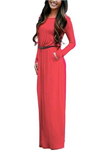0ac2cb55b815 Unita Cintura O Abito scollo Lunghi Estivi Dress Autunno Con Jumper  Pullover Manica Maxi Rosso Eleganti Tunica Abiti Donna Aibayleef Casual  Tinta Cerimonia ...