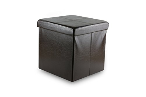 Family Pl Foldable Faux Leather Ottoman Storage Box Seat Foot Rest Stool Coffee Table Espresso