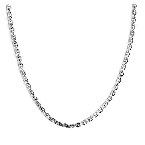 AmyRT 3mm Stainless Steel Round Rolo Cable Chain O Link Cross Chain Silver Necklace for Men Women ()