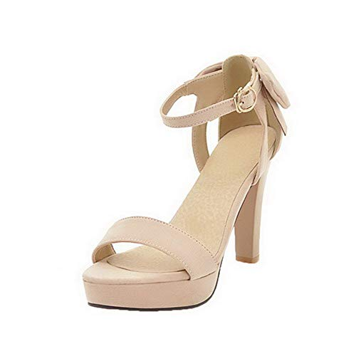 Heels High Open Solid VogueZone009 Frosted Buckle Sandals CCALP015446 Toe Beige Women Ip1XO