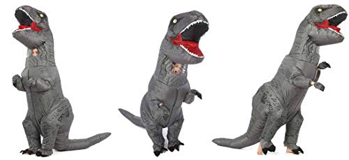 GOPRIME Jurassic T-rex Adult Sized Halloween Party Cosplay Fancy Inflatable Costume (Grey) by GOPRIME (Image #1)