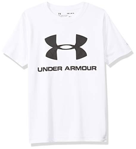 Under Armour Big Boys' Short Sleeve Rashguard, White-S192, YMD