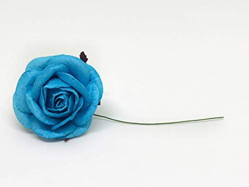 Savvi-Jewels-2-Cyan-Blue-Mulberry-Paper-Flower-Roses-with-Wire-Stems-Rose-Flowers-Artificial-Flower-Rose-DIY-Bouquets-Wedding-Party-Baby-Shower-Home-Decor-DIY-Wedding10-Pieces