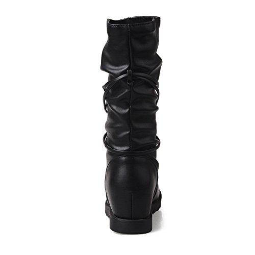 VogueZone009 Damen Ziehen auf Rund Zehe Mittler Absatz PU Leder Mitte-Spitze Stiefel, Schwarz, 43