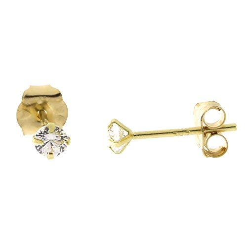 14k Yellow Gold Cubic Zirconia Stud Earrings, 2.50mm (0.12ctw) ()
