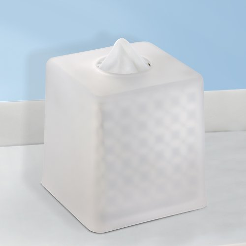 Interdesign York Facial Tissue Box Cover Holder For Bathroom Vanity Countertops Clear Frosted