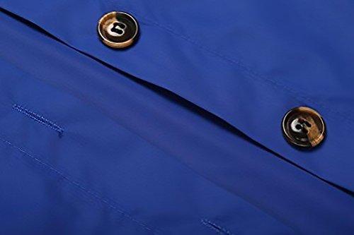 Chaquetas Transpirable De Outcoat Biker Encapuchado Abrigos Solapa Lluvia Outdoor Chaqueta Capucha Coat Mujer Impermeables Larga Azul Con Jacket Encerados Trekking Botones Con Manga rZx7rU