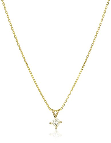 14k Yellow Gold Princess-Cut Diamond Solitaire Pendant Necklace (1/3cttw, H-I Color, I1-I2 Clarity), - Diamond Cut Solitaire Classic