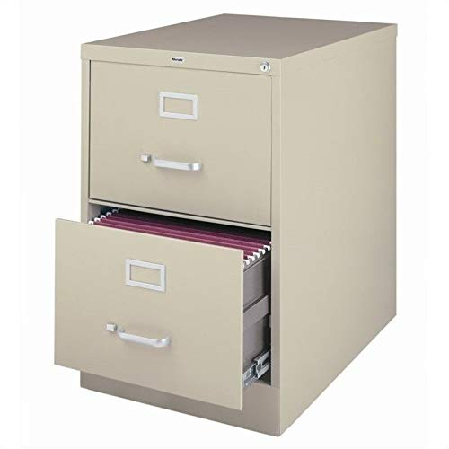 "Hirsh Industries 25"" Deep Vertical File Cabinet 2-Drawer Legal Size, Putty, 14412"