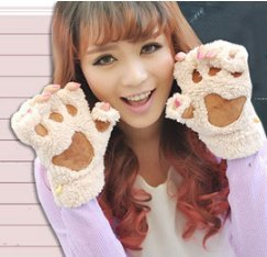 (Royal Figure Union Brand New Thanksgiving Halloween Christmase Promotion Warm Gloves Female Embroidered Paws Half Wool Gloves Winter Gloves )