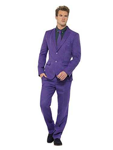 (Smiffys Men's Purple Suit, Stand Out Suits, Jacket, pants and Tie, Stand out Suits, Serious Fun, Size XL,)