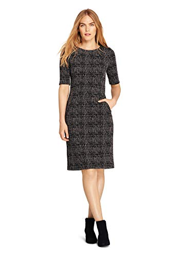 (Lands' End Women's Ponte Knit Sheath Tweed Dress with Elbow Sleeves, 12, Black/Tan Texture)