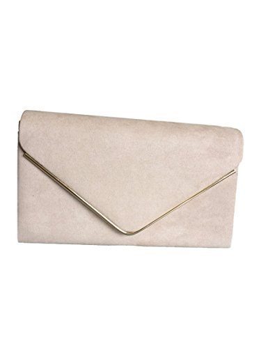 2582bfc6547 Beige Envelope Clutch Bag, Nude Faux Suede Evening Bag, Ladies Taupe  Shoulder Bag, Prom Wedding Handbag: Amazon.co.uk: Shoes & Bags