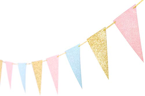 10 Feet Gender Reveal Party Banner Glitter Paper New Years Banner Supplies Garland Decoration Pennant Banner Flags for Baby Shower Birthday Party New Year Eve Decoration 15 pcs (Gold Pink Blue)