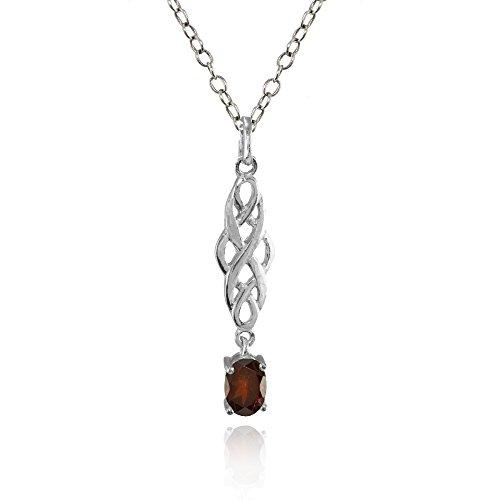 Sterling Silver Garnet Oval Celtic Knot Dangling Drop (Silver Oval Drop Pendant)