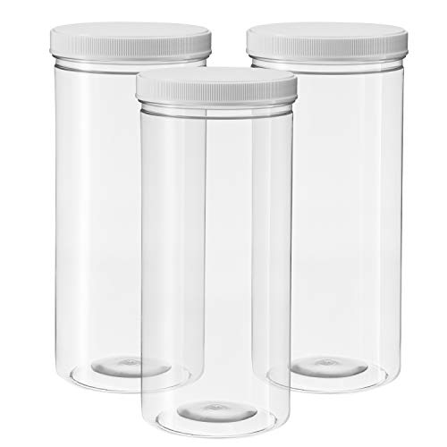 80 Ounce Tall Clear Empty Plastic Jars with Screw-on Lids & Labels - Pack of 3 Large 2.5 quart 10 cup capacity Containers - BPA Free Airtight Leak Proof Canisters - Food Grade Refillable Holder - (Plastic Cylinder)