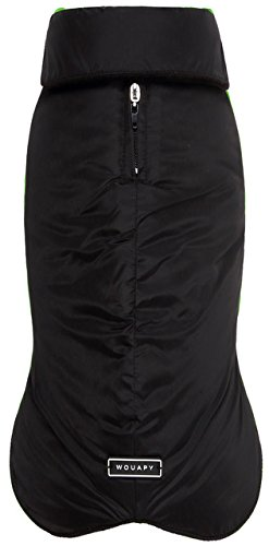 Wouapy - Chubasquero para perros, Negro, L-14-16 inches in length