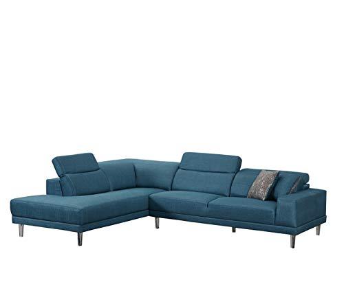 Blackjack Furniture 632-BLUE-LAF Arturo Modern Fabric Sectional Sofa, Left Facing, 115