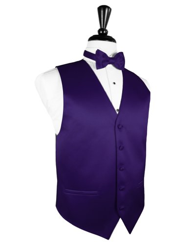 Cardi Men's Solid Satin Tuxedo Vest & Coordinating Bow Tie, Large Amethyst - Cardi Solid Satin