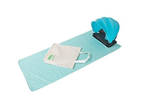 (BLESSING Mini tent set for Sunbathing-Portable/pop-up/lightweight/hands free-Inflatable pillow -Large tote canvas bag(21x21 inch)-Microfiber beach blanket(70x31 inch))
