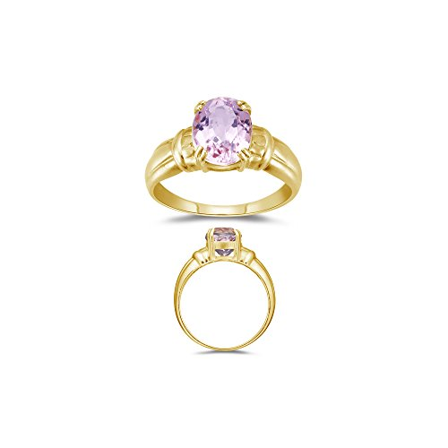 2.65 Cts 10x8 mm AA Oval Kunzite Solitaire Ring in 14K Yellow (Cts Kunzite Ring)