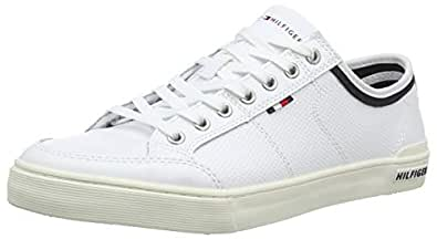 TOMMY HILFIGER Men's Perforated Leather Trainers, White, 40 EU