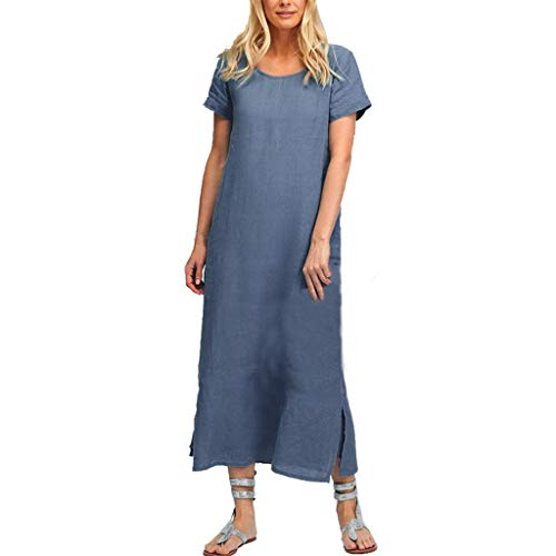 - Women Cotton Linen Long Maxi Beach Dress Short Sleeve Crewneck  Pocket Casual Dress