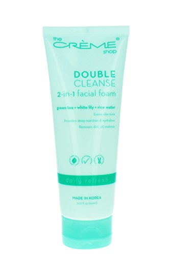 The Crème Shop Korean Beauty Skincare Best Daily Makeup Remover, Brightens Regenerates Relief Acne Scars and Redness, Deep Cleansing Silky Texture - Double Cleanse 2 in 1 Facial foam(Green - Tea Green Creme