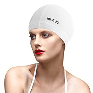 BALNEIARE Polyester Swim Cap with Silicone Coating Fit Men and Women