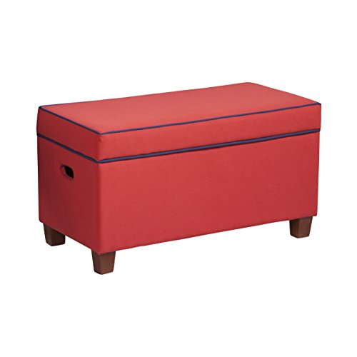 Kids Bench with Flip Top Storage Compartment w/ Solid Red with Dark Blue Piping 150 Pounds Weight Capacity 18'' H x 32'' W x 16'' D by HomePop